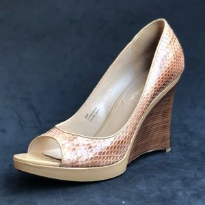 VIA SPIGA snake skin wedge heels